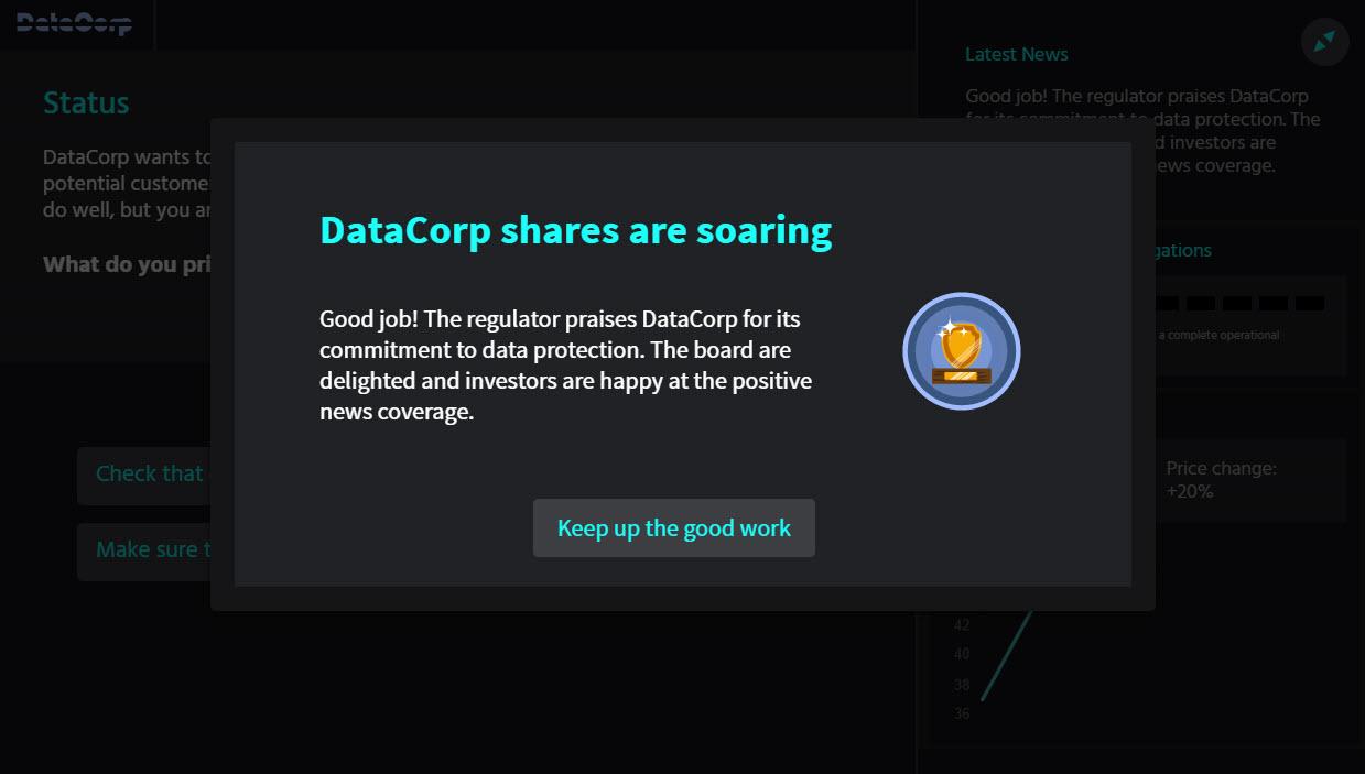 Data protection challenge screenshot
