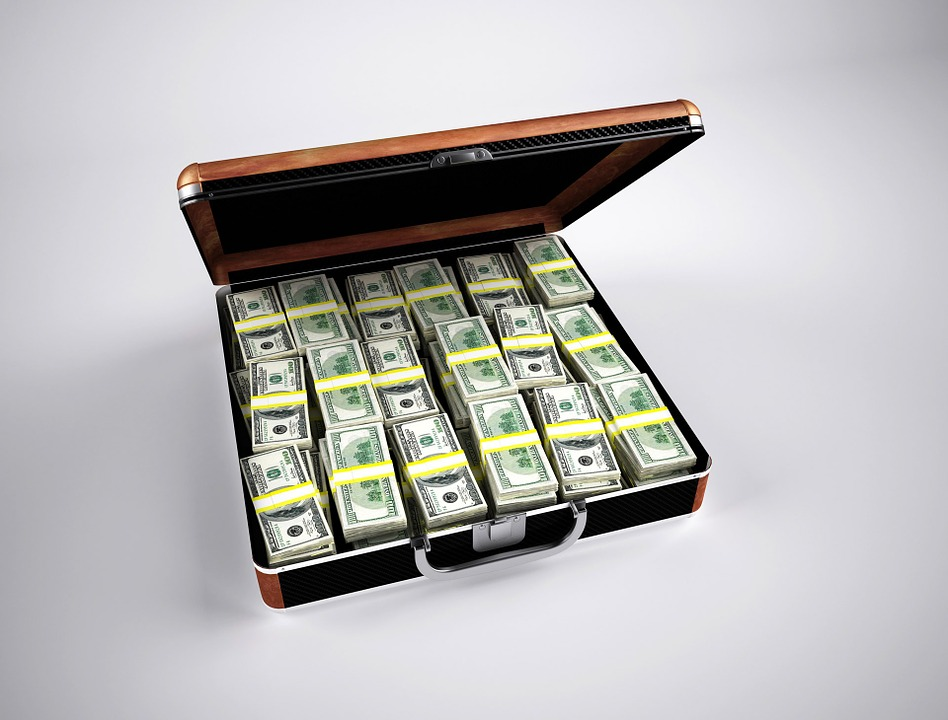 Briefcase with a lot of cash