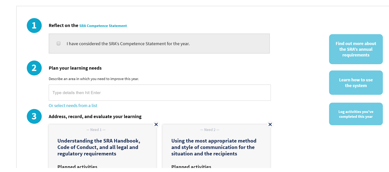 New feature for continuing competence system
