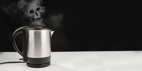 Ghost hovering over a kettle