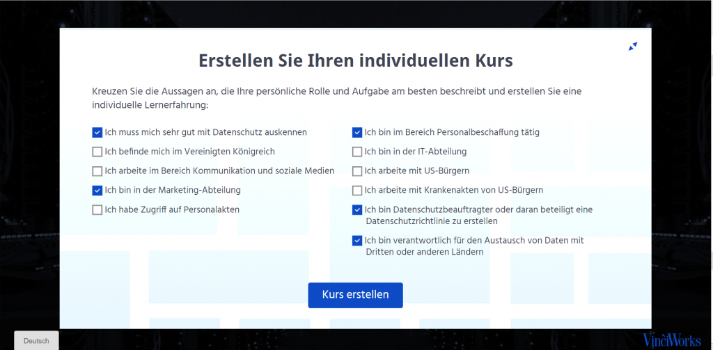 Screenshot of data protection course in German