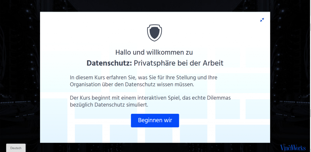Opening screen of data protection course in German