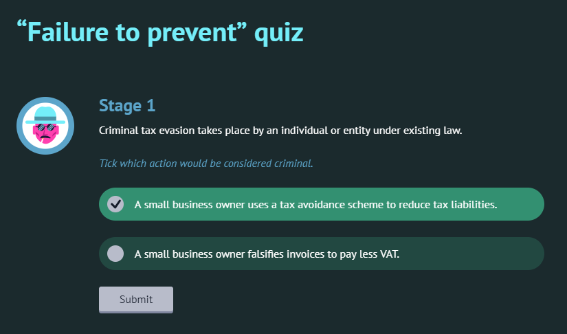 Screenshot from the course Tax Evasion: Failure to Prevent