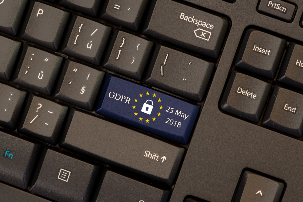 Keyboard with GDPR implementation button