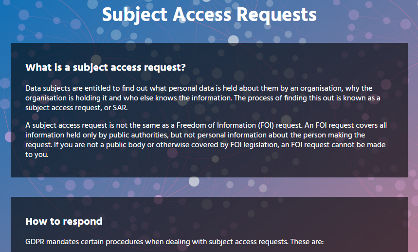Subject Access Request module screenshot