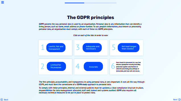 Screenshot from GDPR micro course