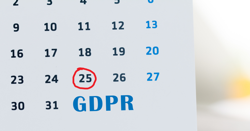 Calendar showing when GDPR is in force