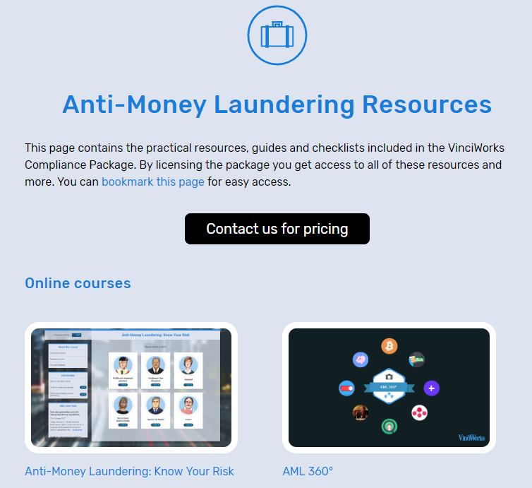 Anti-money laundering resource page