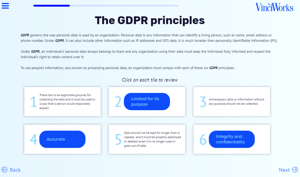 GDPR: An American Perspective GDPR course screenshot