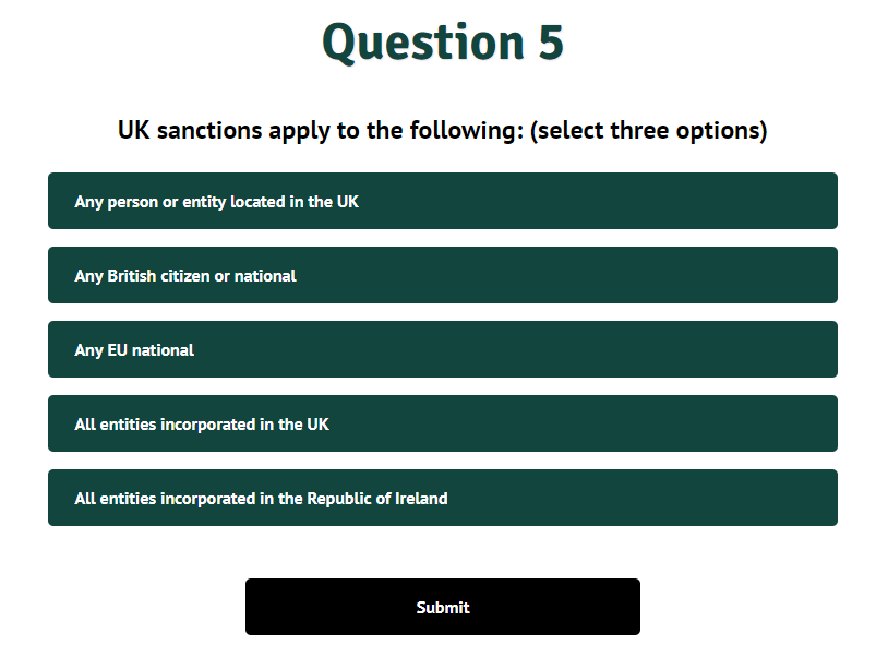 Sanctions knowledge check screenshot
