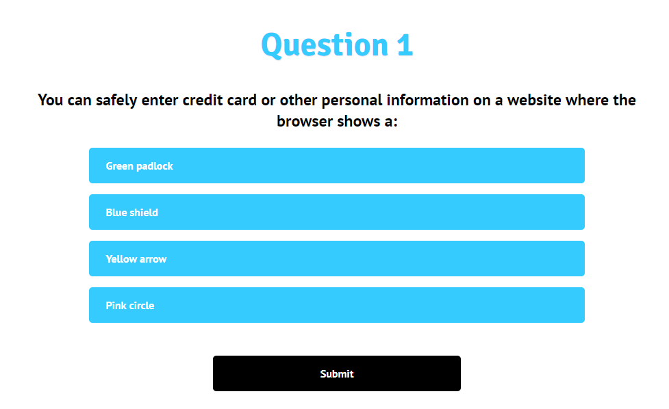 Cyber security knowledge check screenshot