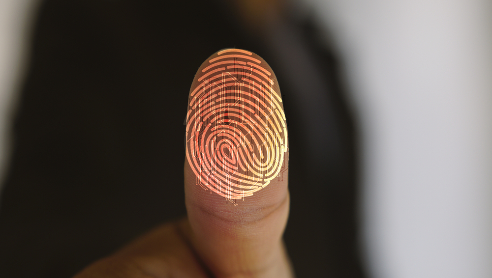 A finger print being taken