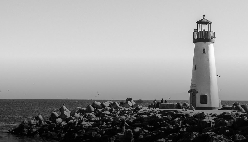 A lighthouse by the sea