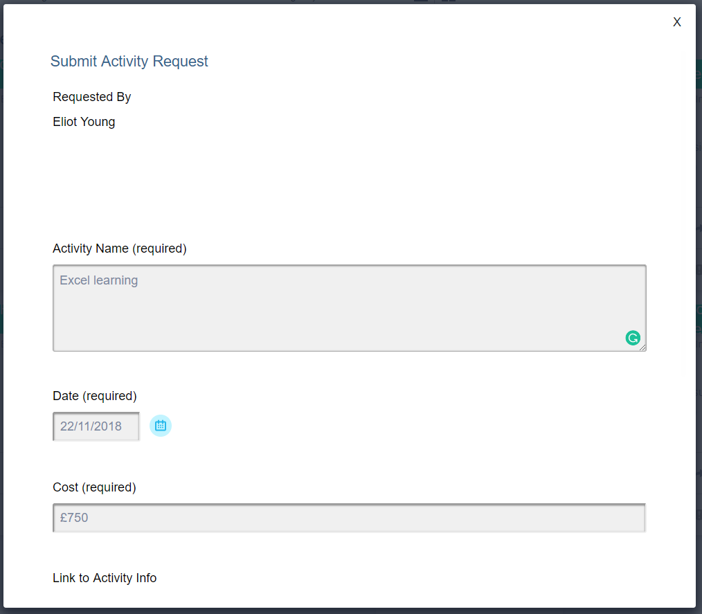Screenshot of submitting an activity request on the LMS