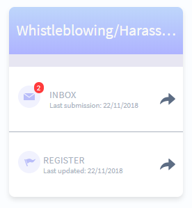 Example of whistleblowing portal on dashboard