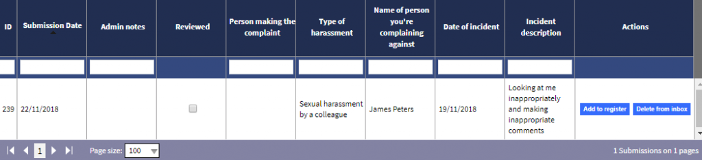 Administrator view of harassment whistleblowing portal reports