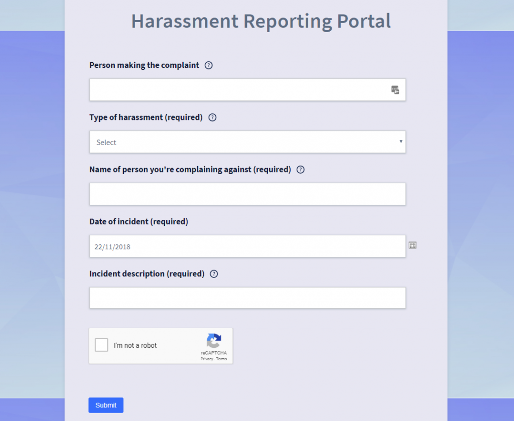 Screenshot of public harassment whistelblowing portal