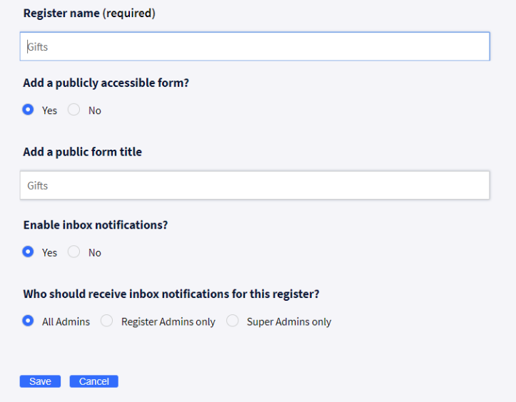 An example of a public Omnitrack reporting form