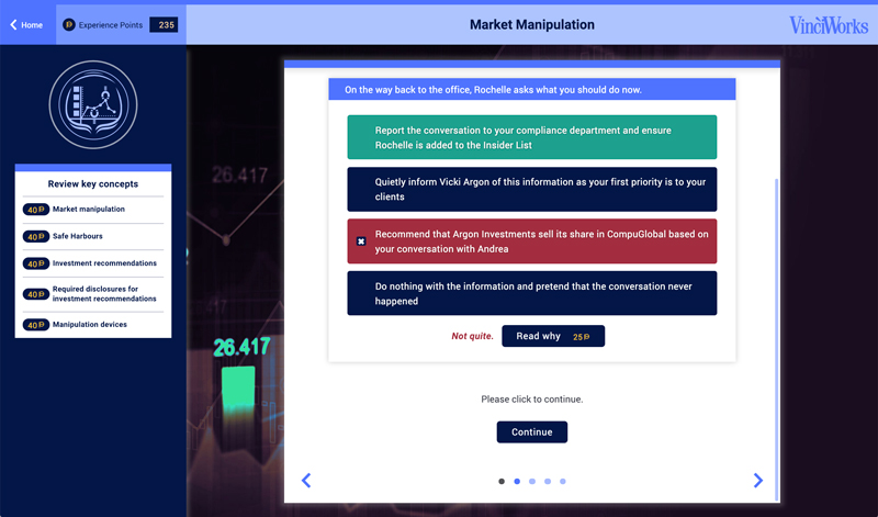 Screenshot from market manipulation module in market abuse training