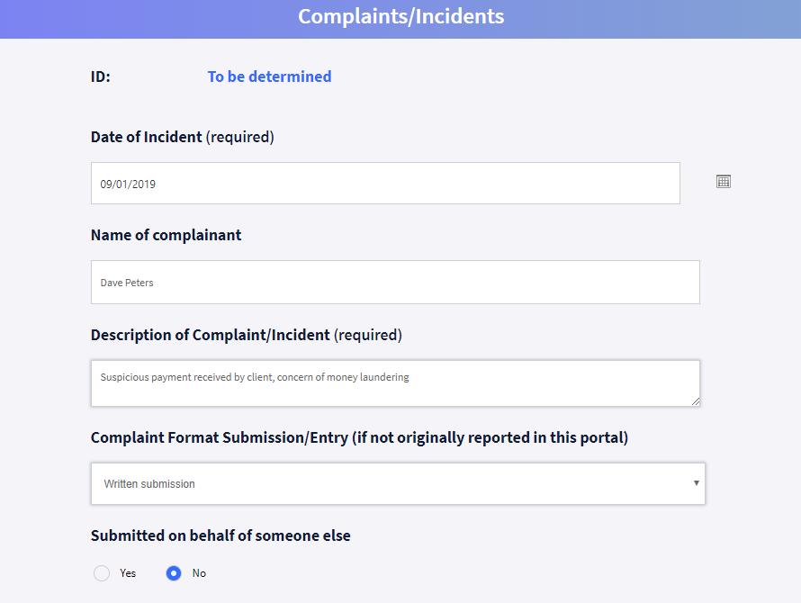 Whistleblowing portal screenshot