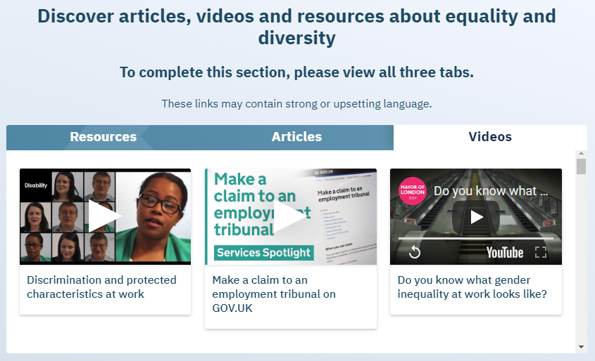 "Screenshot of ""Explore"" section in diversity course"