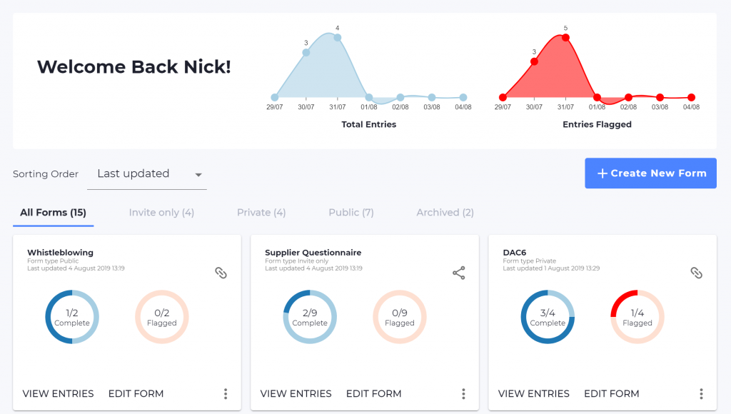 Screenshot of the Omnitrack dashboard