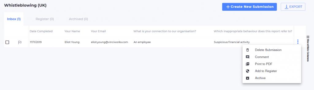 Screenshot of whistleblowing portal inbox