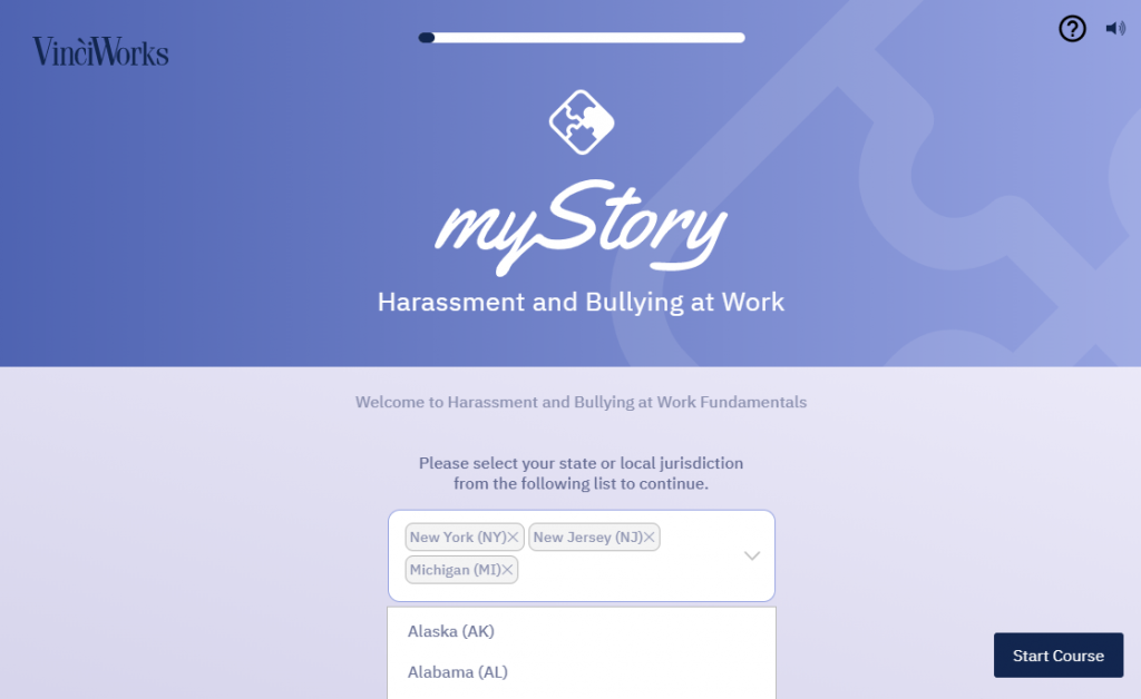 Screenshot of first page of harassment course