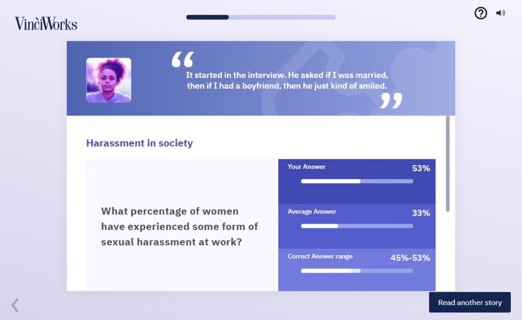 Screenshot of a story in VinciWorks' online harassment course