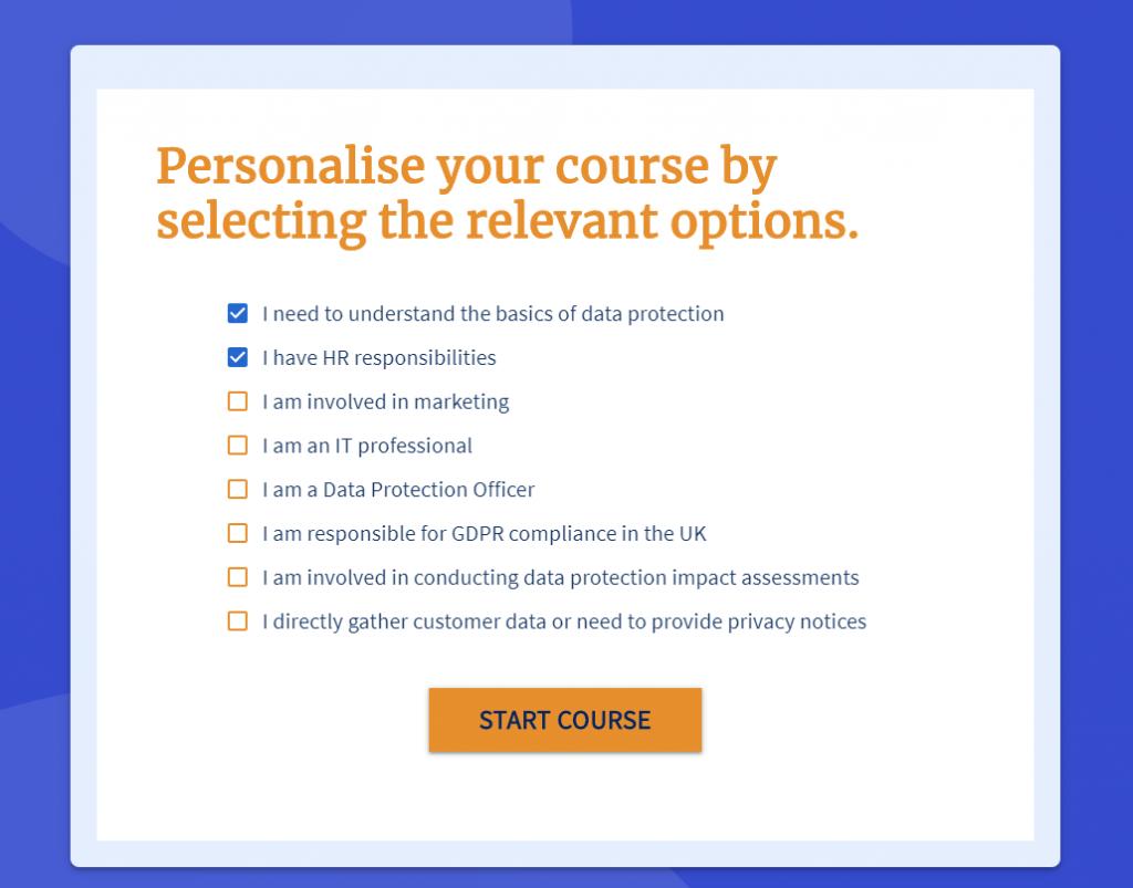 Screenshot of GDPR refresher training course builder