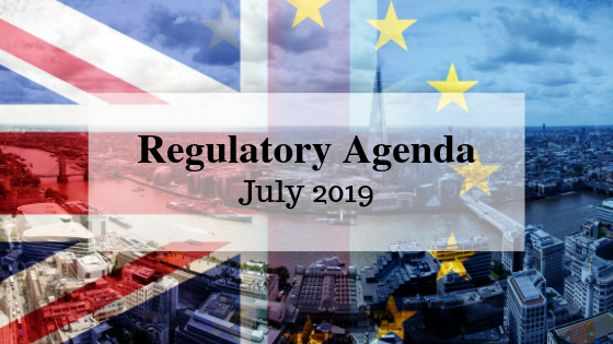 Regulatory agenda for July 2019