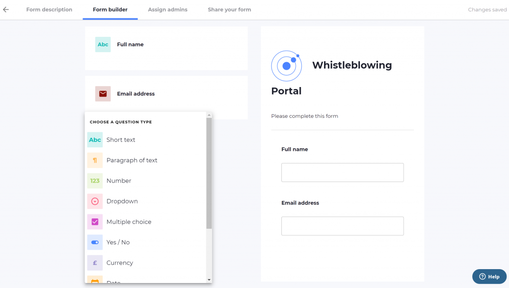 Screenshot of Omnitrack's whistleblowing portal