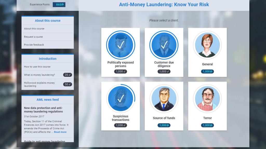 Screenshot of VinciWorks' AML course