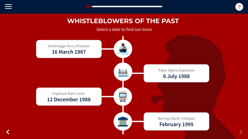 Screenshot of whistleblowing course