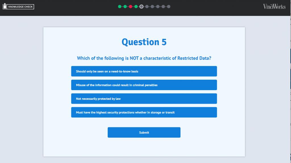 Data Privacy knowledge check screenshot