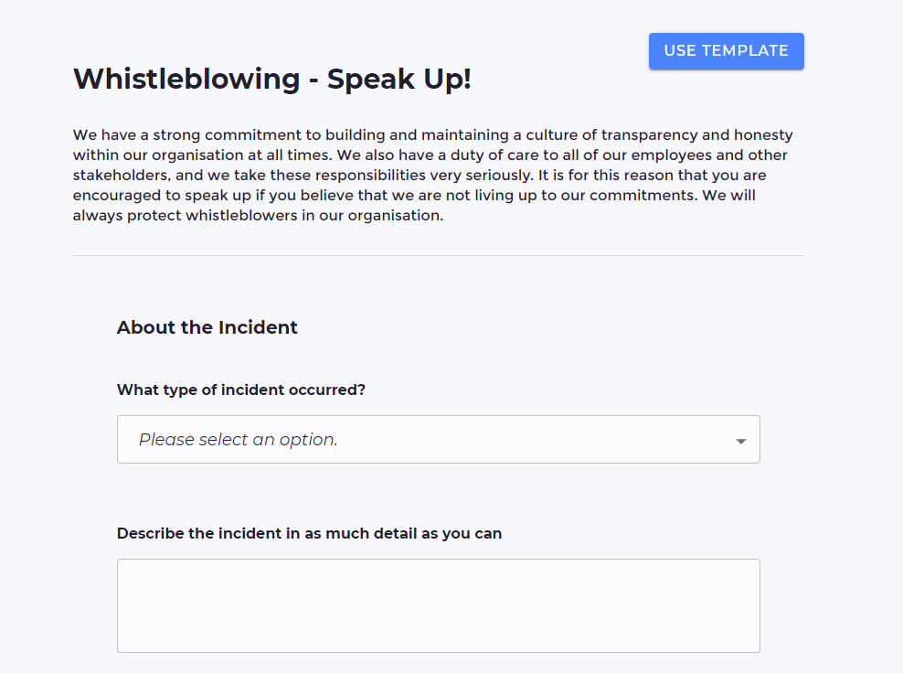 Screenshot of a whistleblowing form template