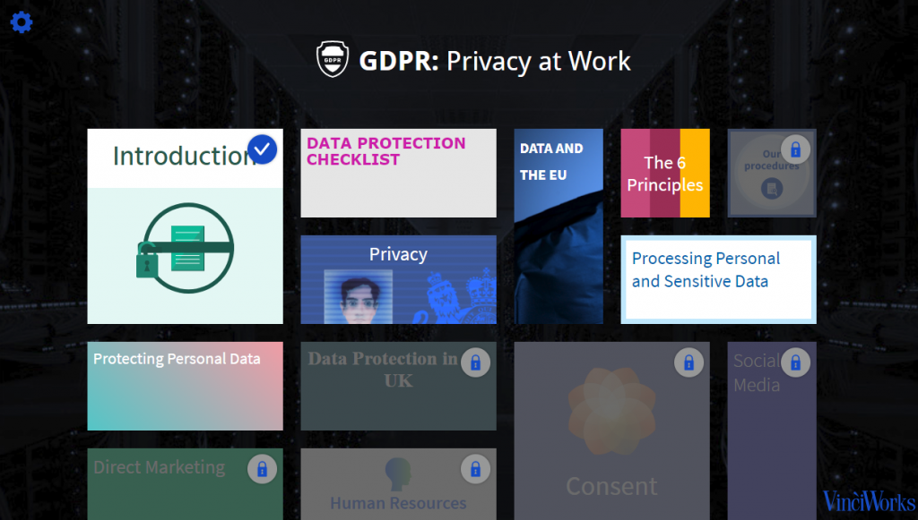 GDPR training screenshot