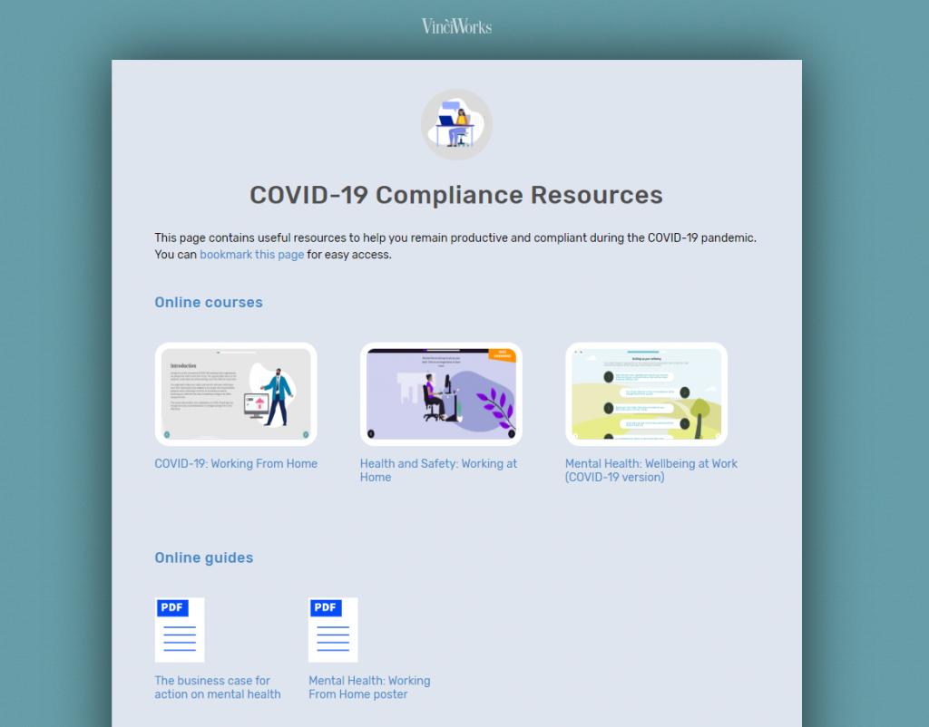 Screenshot of COVID-19 resource page