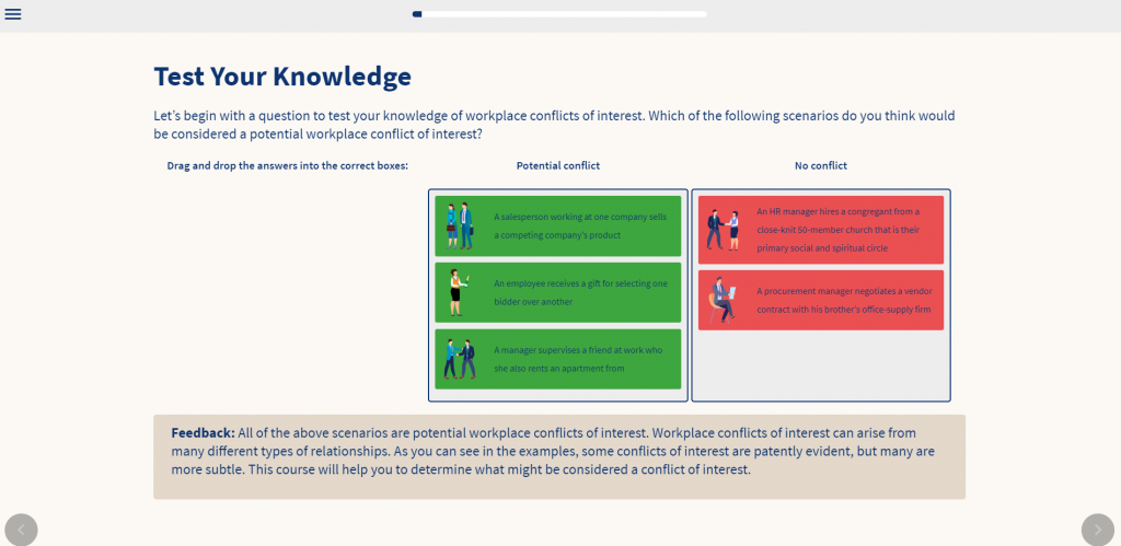 Screenshot of the conflicts of interest course