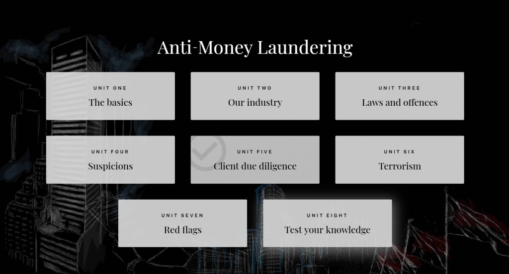 Anti-money laundering course dashboard