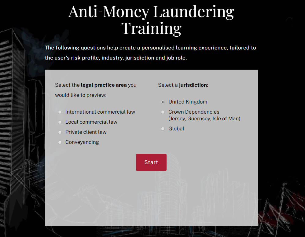 Screenshot of anti-money laundering course builder
