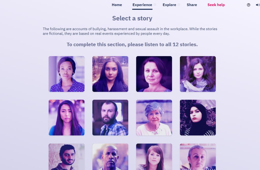 Screenshot of story-based diversity course