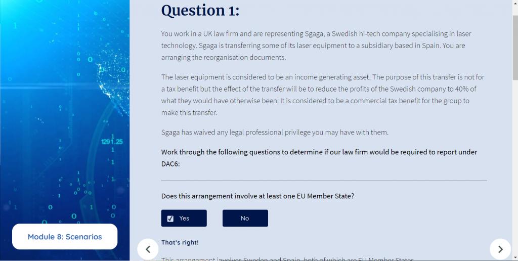 DAC6 course scenario questions screenshot