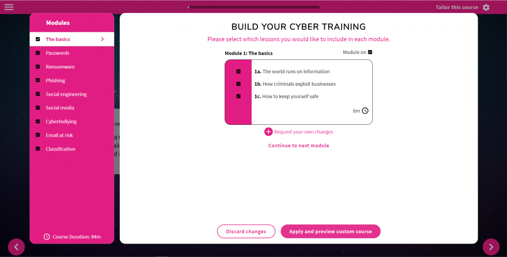 Screenshot of the cyber security course builder