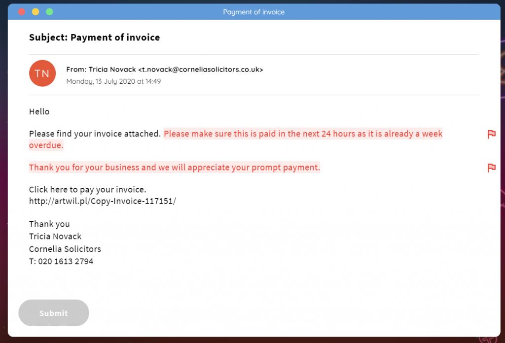 Screenshot of phishing module in cyber security course