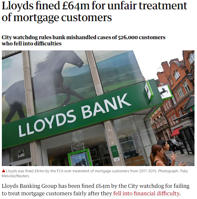 Lloyds bank fined - news article