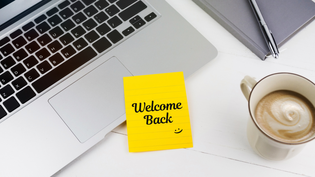 Welcome back post-it note