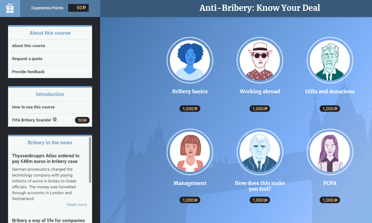 Screenshot of VinciWorks' anti-bribery course